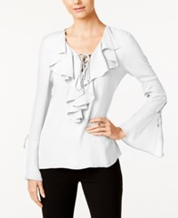 Eci Ruffled Lace Up Blouse Bright White