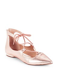 Saks Fifth Avenue Point Toe Flats Rose Gold
