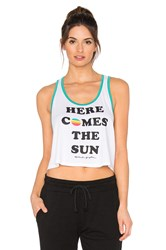 Spiritual Gangster Here Comes The Sun Crop Ringer Tank White