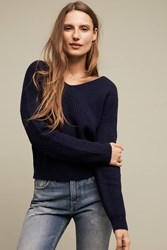 Anthropologie Ribbed Twist Back Pullover Navy