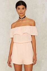 Nasty Gal Cinch By Cinch Off The Shoulder Romper Blush