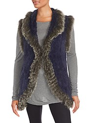 Saks Fifth Avenue Rabbit And Fox Fur Sleeveless Jacket Blue Gray