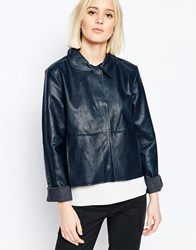 Weekday Button Front Leather Look Jacket With Collar Black
