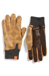 Men's Honns 'Logan' Lambskin Tech Gloves Camel Brown