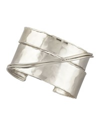 Crossover Cuff Rhodium Gray Devon Leigh