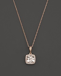 Bloomingdale's Morganite And Diamond Pendant Necklace In 14K Rose Gold 18 Pink