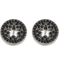 Marc Jacobs Star Pave Stud Earrings Jet Antique Silver