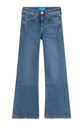Mih Jeans Flared Jeans With Frayed Ankles Blue