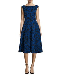 Betsey Johnson Floral Jacquard Midi Fit And Flare Dress Royal Black
