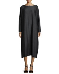 Eskandar Long Sleeve Wool Blend Dress Charcoal