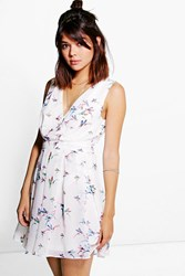 Boohoo Wrap Front Skater Printed Dress White