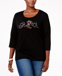 Karen Scott Plus Size Holiday Boot Graphic Top Only At Macy's Deep Black
