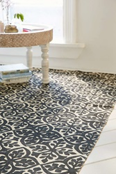 Plum And Bow Zarina Floral Printed Rug Black