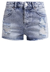 Miss Selfridge Denim Shorts Blue Bleached Denim