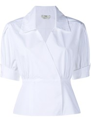 Fendi Short Sleeve Wrap Shirt White