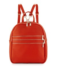 Neiman Marcus Made In Italy Triple Zip Leather Backpack Orange