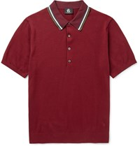 Paul Smith Slim Fit Contrast Tipped Knitted Stretch Cotton Blend Polo Shirt Burgundy