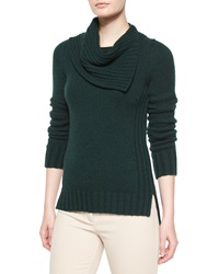 Derek Lam Cashmere Long Sleeve Folded Collar Sweater Dark Green