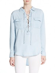 Rd Style Lace Up Chambray Hi Lo Short Soft Blue