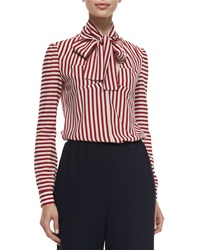Red Valentino Tie Neck Striped Blouse Red