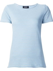 A.P.C. Striped Short Sleeve T Shirt Blue