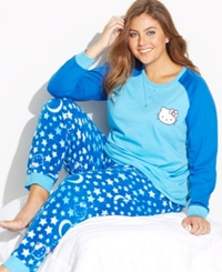 Hello Kitty Plus Size Lovely Dreamer Knit Top And Fleece Bottom Pajama Set Blue Stars
