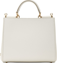 Dolce And Gabbana White Grained Leather Shopping Tote