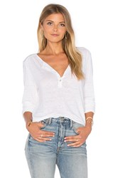 Velvet By Graham And Spencer Ginny Long Sleeve Half Button Top White