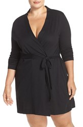 Yummie Tummie Plus Size Women's By Heather Thomson Jersey Robe Black