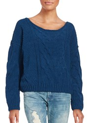 Free People Knit Off The Shoulder Sweater Blue