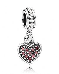Pandora Design Pandora Dangle Charm Red Cubic Zirconia Pave Heart Moments Collection Silver Red
