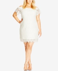 City Chic Plus Size Off The Shoulder Lace Dress Ivory