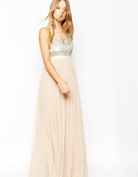 Needle And Thread Strappy Backless Tulle Embellished Maxi Dress Pink