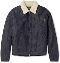 Beams Plus Slim Fit Faux Shearling Lined Denim Jacket Indigo