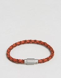 Polo Ralph Lauren Leather Plaited Bracelet Orange