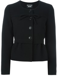 Boutique Moschino Front Bow Peplum Jacket Black