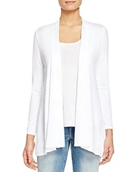 Eileen Fisher High Low Stretch Cotton Cardigan White
