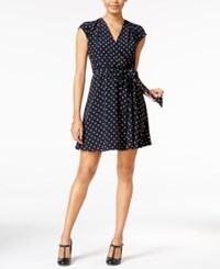 Maison Jules Polka Dot Faux Wrap Dress Only At Macy's Navy Stone Combo