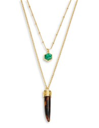 Trina Turk Horn And Stone Pendant Necklace Green