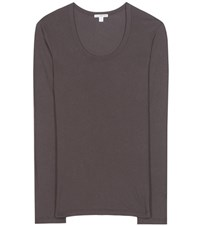 James Perse Extra Long Cotton Blend Jersey T Shirt Grey