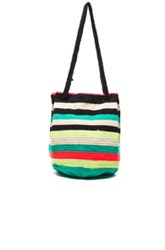 Sophie Anderson Caro Tote In Green Neon Stripes Green Neon Stripes
