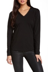 Hugo Boss Mesh Trim Jersey Long Sleeve Tee Black