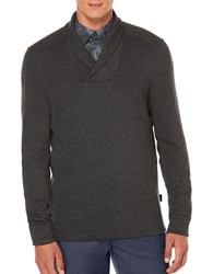 Perry Ellis Textured Pique Shawl Collar Pullover Charcoal