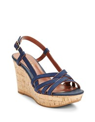 Lauren Ralph Lauren Quaylin Platform Wedge Sandals Navy Blue