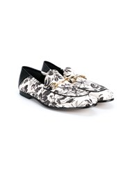 Gucci Floral Horsebit Loafers Grey Off White Black Off White