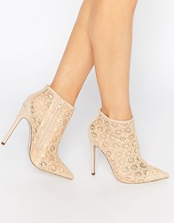 Little Mistress Hepburn Lace Heeled Ankle Boots Nude Beige