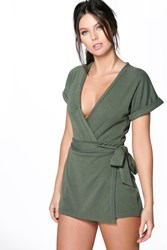 Boohoo Structured Wrap Belted Ponte Playsuit Khaki