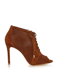 Karen Millen Perforated Lace Up Peep Toe Booties Tan
