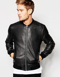 Selected Homme Leather Bomber Jacket Black