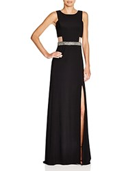 Aqua Sleeveless Illusion Side Embellished Waist Gown Black Black
